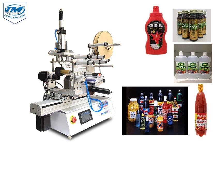 máy dán nhãn bán tự động có thể áp dụng cho các sản phẩm dạng chai tròn và chai vuông